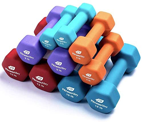 3 Pairs of Neoprene Free Weights Dumbbells Set with Rack for Home Fitness Equipment for Aerobics Weight Loss Yoga Exercise 2lbs, 3lbs, 6lbs Set
